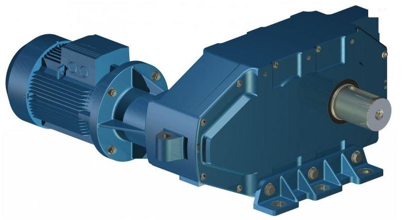 Трехступенчатый Цилиндрический мотор-редуктор C3(P)-M Исполнение с массивным выходным валом, на лапах